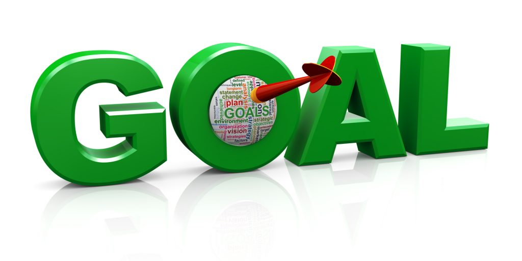 3d render of word goal with dart and goal wordcloud.