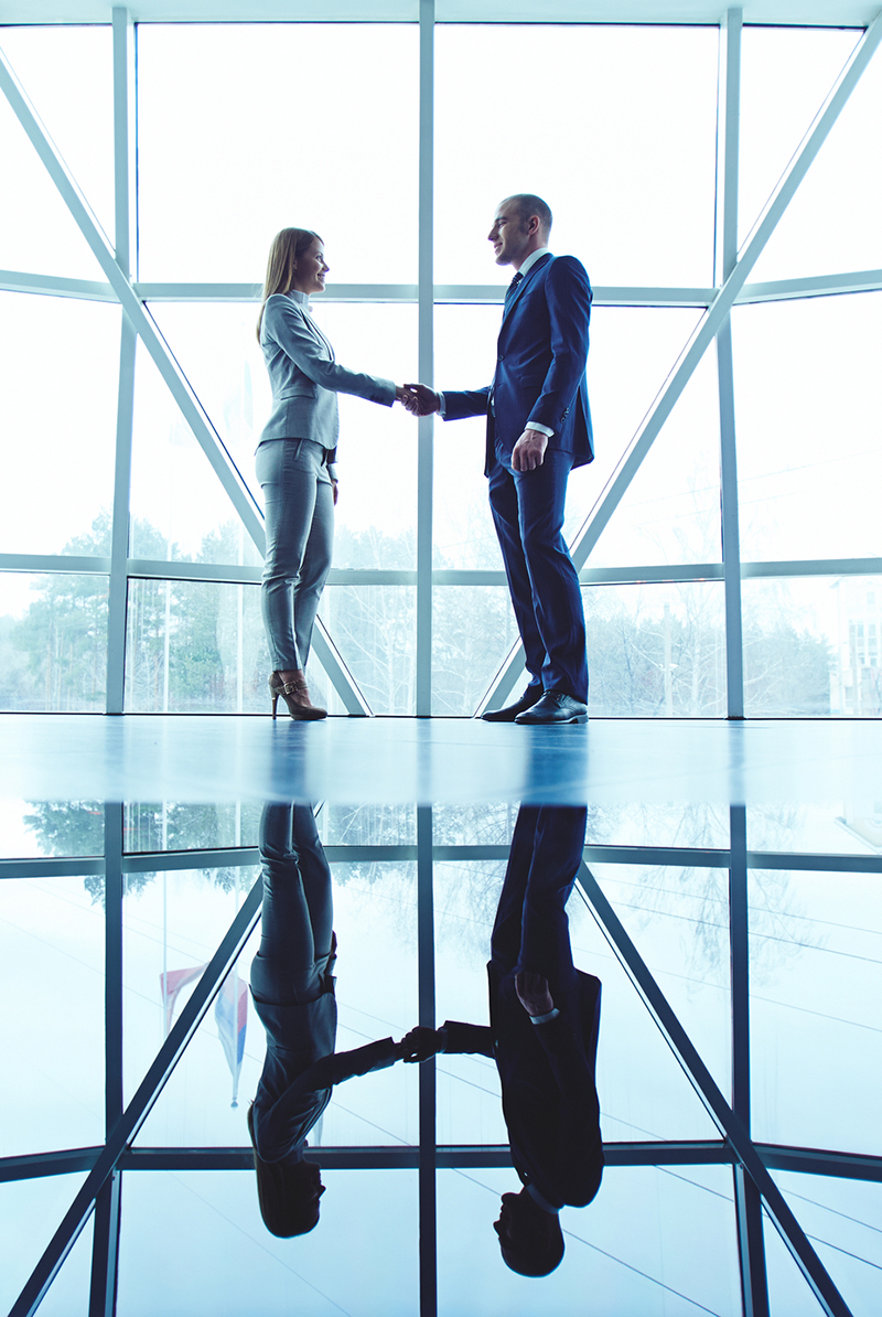 Business partners handshaking after making agreement